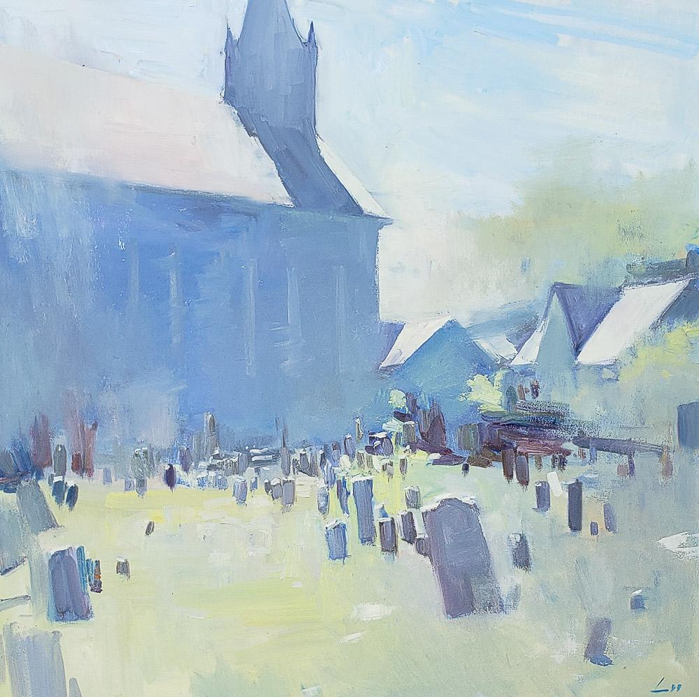 Churchyard 36x36 oil plein air private collection