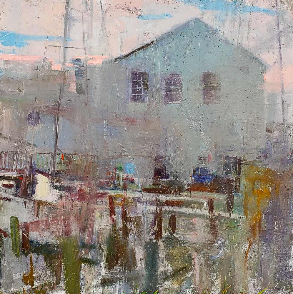 Oyster House 36x36 oil pleinair available at Carmens Gallery Solomons MD